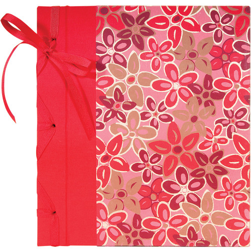"Lineco Ribbon Bound Album with Ivory Pages Kit (Pink-Red Flower Cover, 9.75 x 11"")"