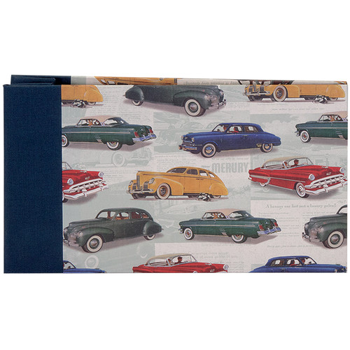 """Lineco Post Bound Album with Ivory Pages Kit (Vintage Cars Cover, 9.75 x 5.5"""")"""