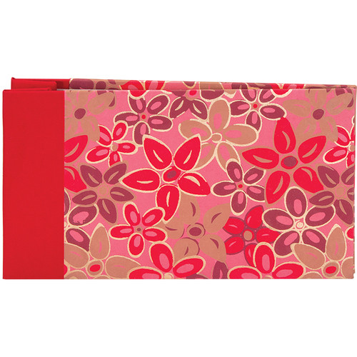 "Lineco Post Bound Album with Ivory Pages Kit (Pink-Red Flower Cover, 9.75 x 5.5"")"