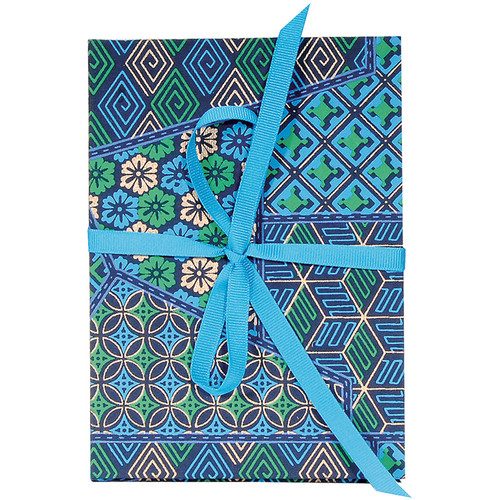 Lineco Accordion Album Kit with Ivory Pages and Blue Geometric Cover