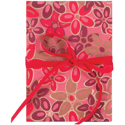 "Lineco Accordion Album with Ivory Pages & Pink-Red Flower Cover (5.25 x 7.25"")"