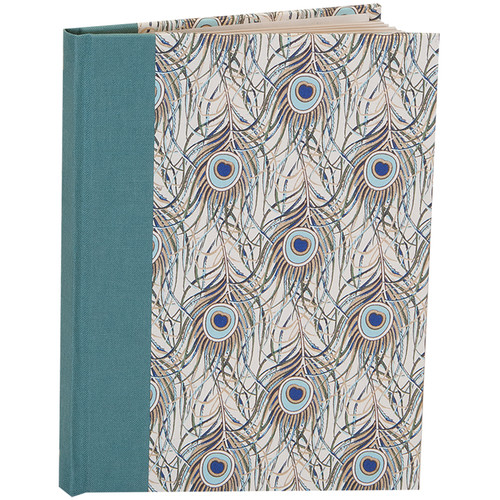 """Lineco Blank Book Kit with Ivory Pages (Peacock Feathers Cover, 5.25 x 7.25"""")"""