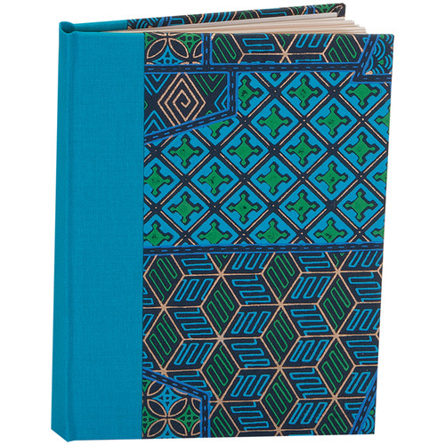 """Lineco Blank Book Kit with Ivory Pages (Blue Geometric Cover, 5.25 x 7.25"""")"""