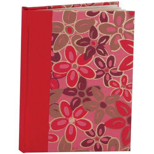 """Lineco Blank Book Kit with Ivory Pages (Pink-red Flower Cover, 5.25 x 7.25"""")"""