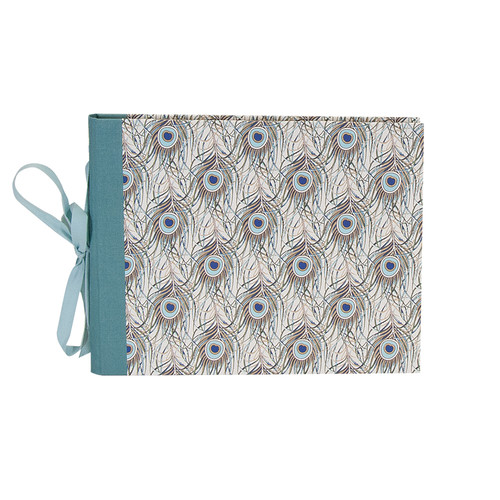 "Lineco Guest Book Kit with 24 Printed Ivory Pages (Peacock Feathers Cover, 7 x 10.5"")"