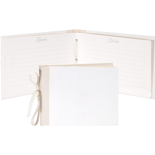 """Lineco Guest Book Kit with 24 Printed Ivory Pages (Blank Cover, 7 x 10.5"""")"""