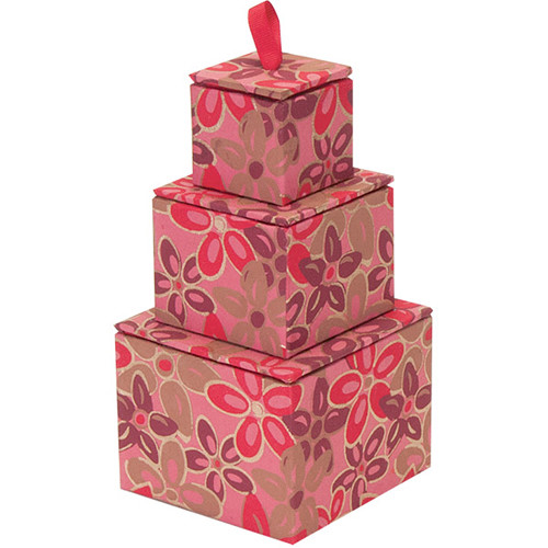 """Lineco Stacking Box Tower Kit (Pink-Red Flower, 4 x 4 x 5"""")"""