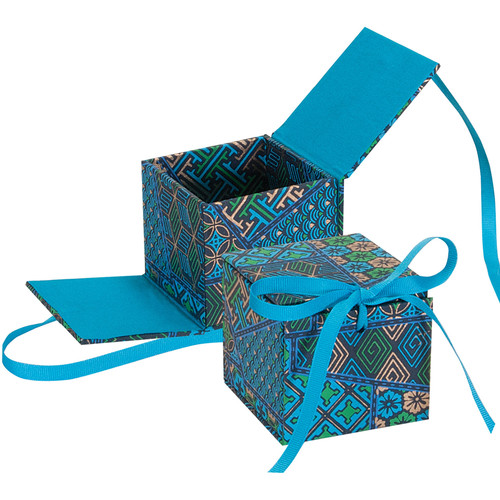 "Lineco Japanese Sho-Sho Box Kit (Blue Geometric, 3.25 x 3.5 x 3.25"")"