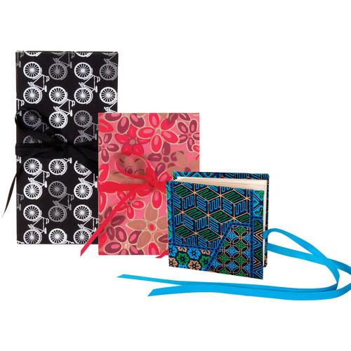 "Lineco Three Accordion Album Set (Blue Geometric 4 x 4"", Pink-Red Flower 5 x 7"", Bicycles 4 x 8.25"")"