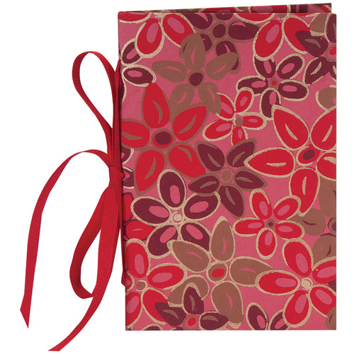 """Lineco Tibetan Books Kit (Set of 2, Pink-Red Flower Cover, 4.25 x 6.5"""" & 5 x 7.5"""")"""