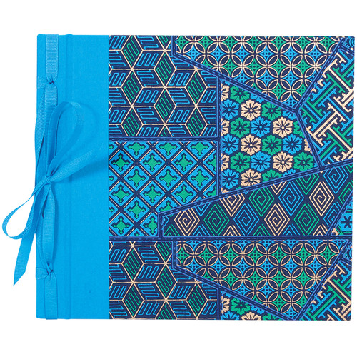"""Lineco Ribbon Bound Album with Top Load Pages (Blue Geometric Cover, 9 x 10"""")"""