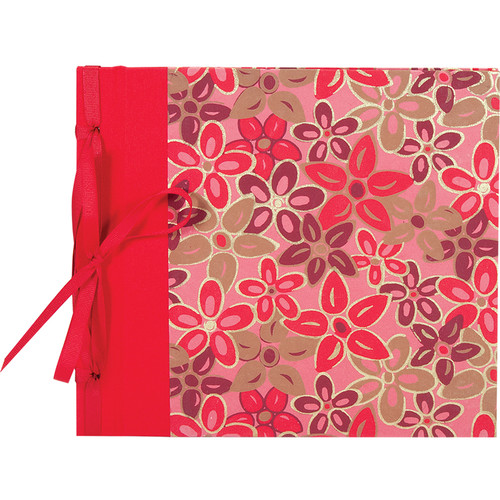 """Lineco Ribbon Bound Album with Top Load Pages (Pink-Red Flower Cover, 9 x 10"""")"""