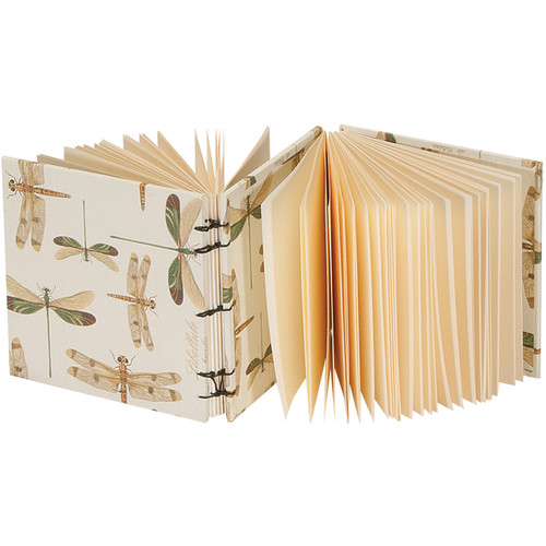 """Lineco Dos-a-Dos Coptic Journal Kit with Ivory Pages (Dragonflies Cover, 4.25 x 4.25"""")"""