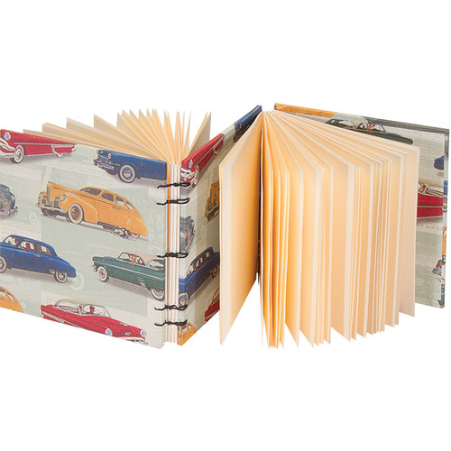 """Lineco Dos-a-Dos Coptic Journal Kit with Ivory Pages (Vintage Cars Cover, 4.25 x 4.25"""")"""