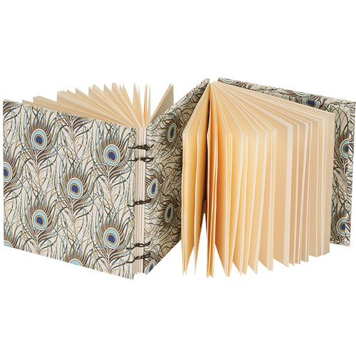 """Lineco Dos-a-Dos Coptic Journal Kit with Ivory Pages (Peacock Feather Cover, 4.25 x 4.25"""")"""