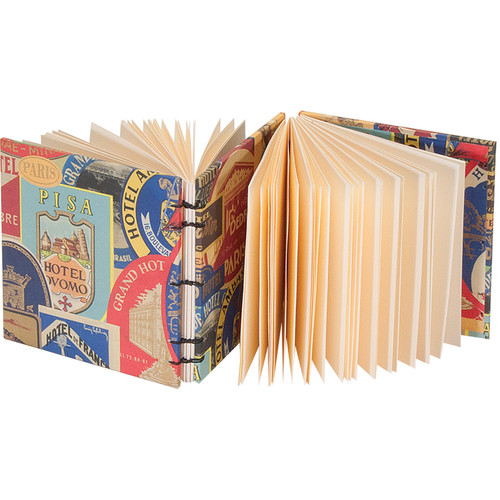 "Lineco Dos-a-Dos Coptic Journal Kit with Ivory Pages (Travel Sticker Cover, 4.25 x 4.25"")"