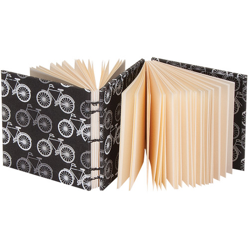 """Lineco Dos-a-Dos Coptic Journal Kit with Ivory Pages (Bicycles Cover, 4.25 x 4.25"""")"""