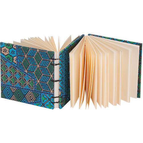 """Lineco Dos-a-Dos Coptic Journal Kit with Ivory Pages (Blue Geometric Cover, 4.25 x 4.25"""")"""