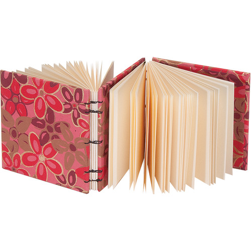 """Lineco Dos-a-Dos Coptic Journal Kit with Ivory Pages (Pink-Red Flower Cover, 4.25 x 4.25"""")"""