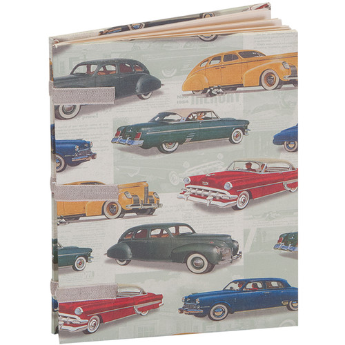 """Lineco Linen Tape Journal Kit with Ivory Pages (Vintage Cars Cover, 5 x 7"""")"""