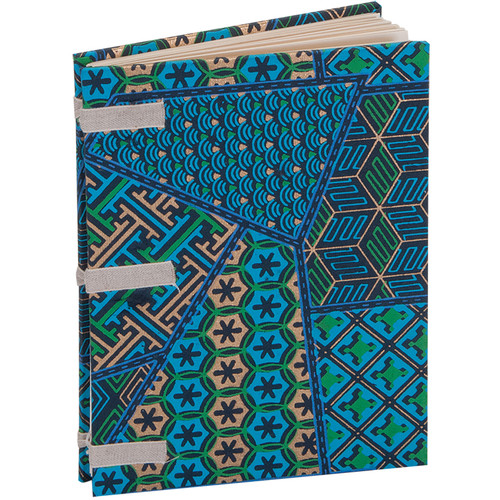 """Lineco Linen Tape Journal Kit with Ivory Pages (Blue Geometric Cover, 5 x 7"""")"""