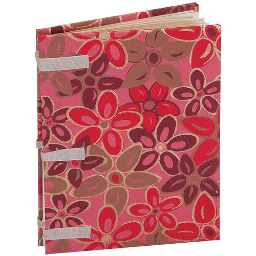 """Lineco Linen Tape Journal Kit with Ivory Pages (Pink-Red Flower Cover, 5 x 7"""")"""