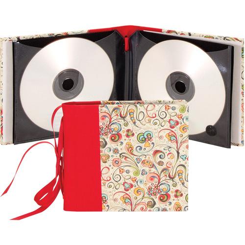 "Lineco Ribbon Bound 12 CD Holder Kit (Art-Nouveau Flowers Cover, 5.25 x 6"")"