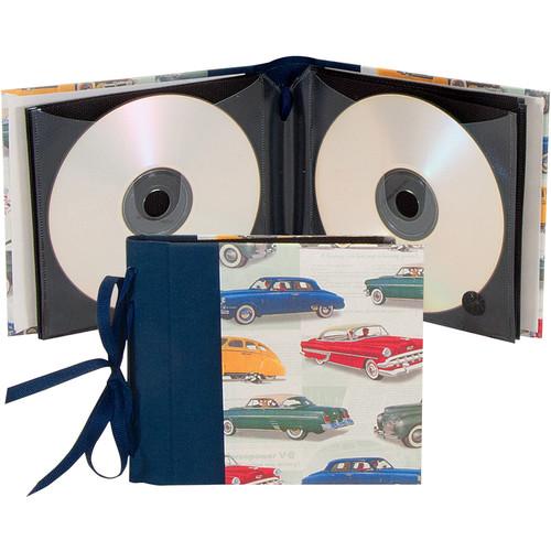 "Lineco Ribbon Bound 12 CD Holder Kit (Vintage Cars Cover, 5.25 x 6"")"