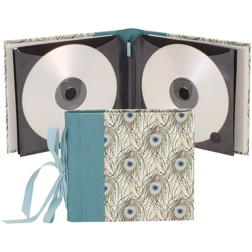 """Lineco Ribbon Bound 12 CD Holder Kit (Peacock Feathers Cover, 5.25 x 6"""")"""