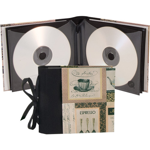 "Lineco Ribbon Bound 12 CD Holder Kit (Caffe Italia Cover, 5.25 x 6"")"