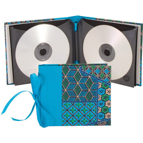 "Lineco Ribbon Bound 12 CD Holder Kit (Blue Geometric Cover, 5.25 x 6"")"