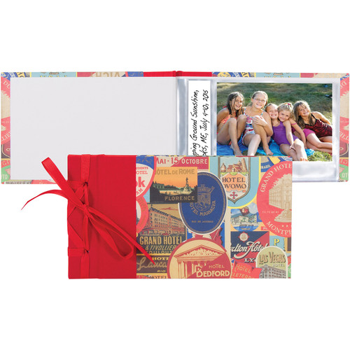 "Lineco Travel Stickers Ribbon-Bound Brag Book DIY Kit (9.75 x 5.5"")"