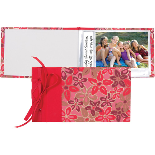 "Lineco Ribbon-Bound Brag Book Kit (Pink-Red Flower, 6.75 x 4.7"")"