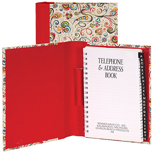 Lineco Address Book Kit with Printed Tabbed Index (Art-Nouveau Flowers Cover)