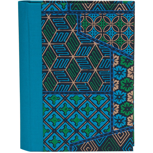 Lineco Address Book Kit with Printed Tabbed Index (Blue Geometric Cover)