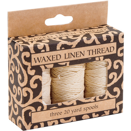 Lineco Waxed Linen Thread Roll (3-Pack, 20 yd, Natural)