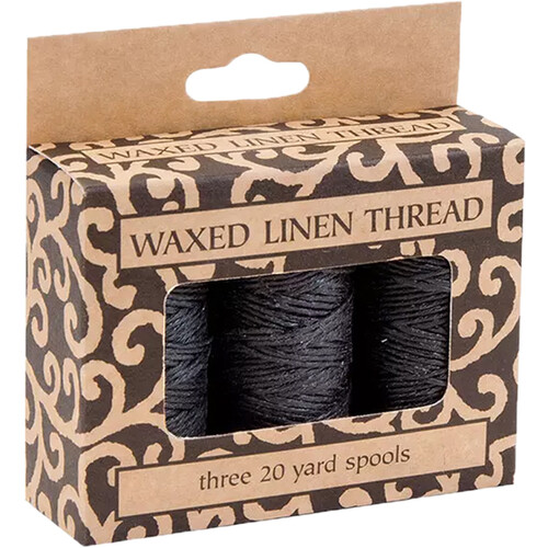 Lineco Waxed Linen Thread Roll (3-Pack, 20 yd, Black)