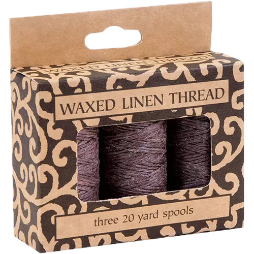 Lineco Waxed Linen Thread Roll (3-Pack, 20 yd, Brown)