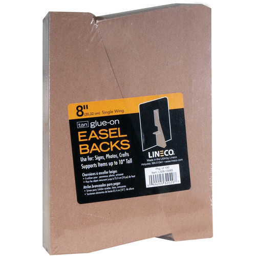 "Lineco 8"" Glue-On Easel Back (Tan, Pack of 100)"