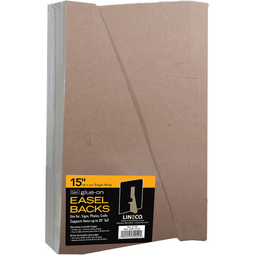 "Lineco 15"" Glue-On Easel Back (Tan, Pack of 100)"