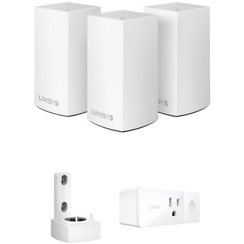 Linksys Velop Wireless AC-3900 Dual-Band Whole Home Mesh Wi-Fi System with Wall Mount and Smart Plug Kit