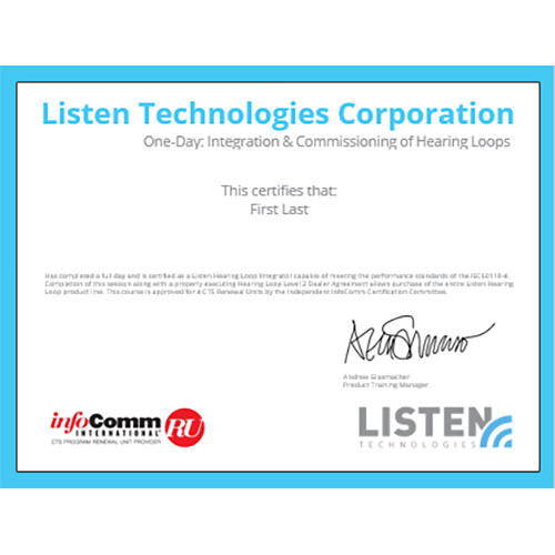 Listen Technologies One-Day Individual Integration And Commissioning Training Class
