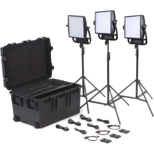 Litepanels Astra 1x1 Soft Bi-Color 3-Light Trio Kit with V-Mount Battery Plate