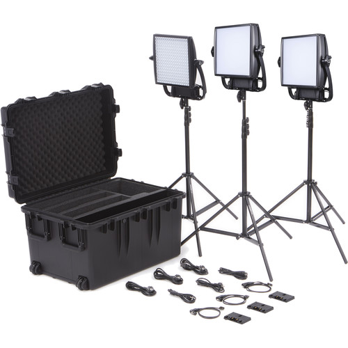 Litepanels Astra 1x1 Soft Bi-Color 3-Light Trio Kit with Gold Mount Battery Plate