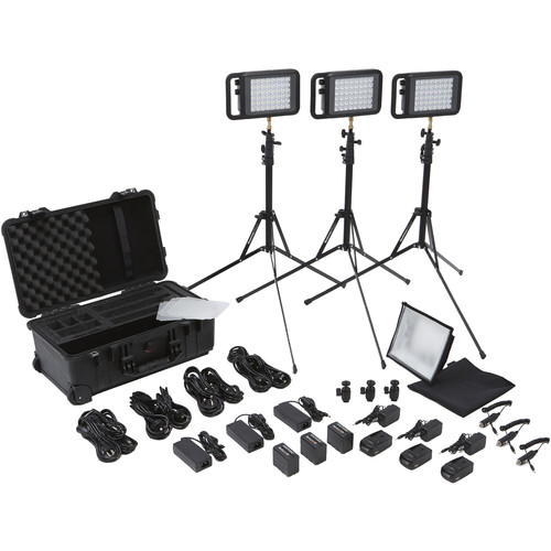 Litepanels Lykos Bi-Color Flight Kit with Battery Bundle