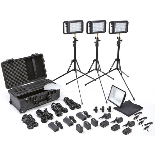 Litepanels Lykos Bi-Color Flight Kit with Battery Bundle with UK AC Adapter