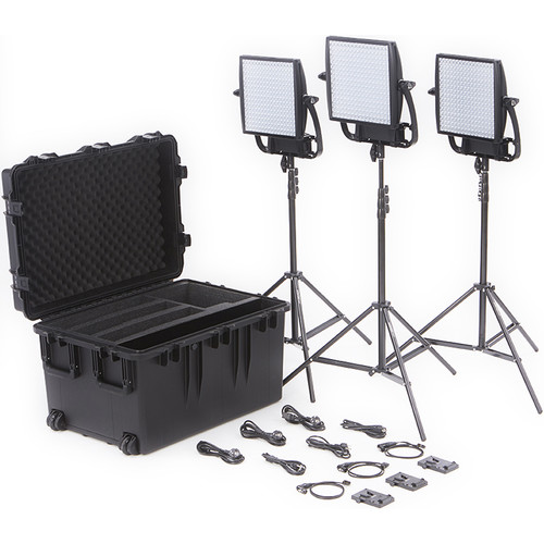 Litepanels Astra 3X Traveler Bi-Color Trio 3-Light Kit with V-Mount Battery Brackets
