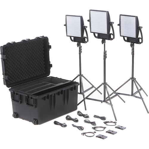 Litepanels Astra 6X Traveler Bi-Color Trio 3-Light Kit with Gold Mount Battery Brackets