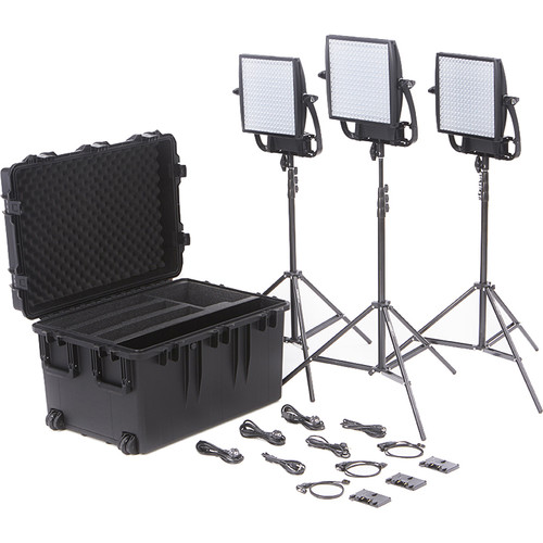 Litepanels Astra 6X Traveler Bi-Color Trio 3-Light Kit with Gold Mount Battery Brackets