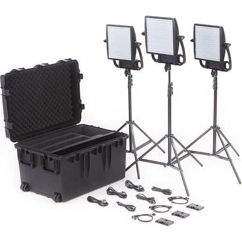 Litepanels Astra 3X Traveler Bi-Color Trio 3-Light Kit with Gold Mount Battery Brackets